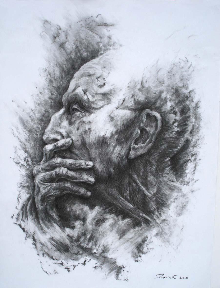 dessin portrait fusain