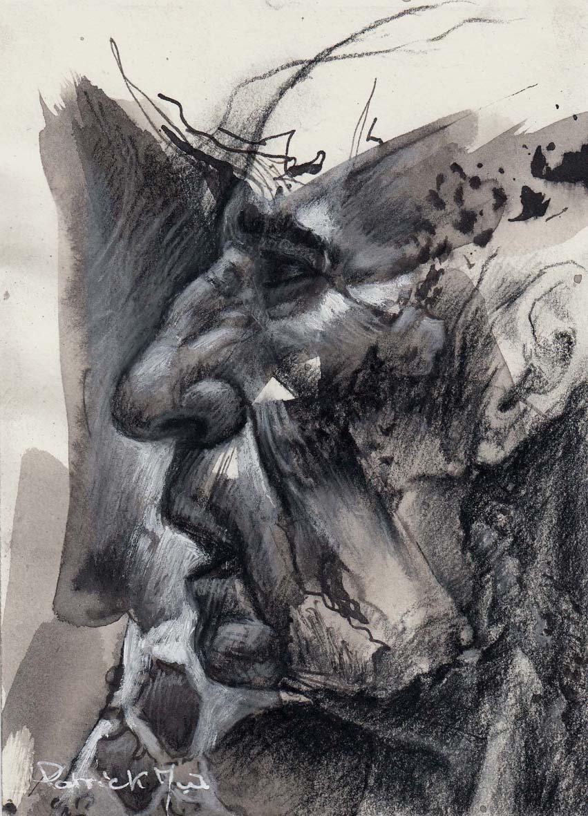 dessin peinture portrait technique mixte