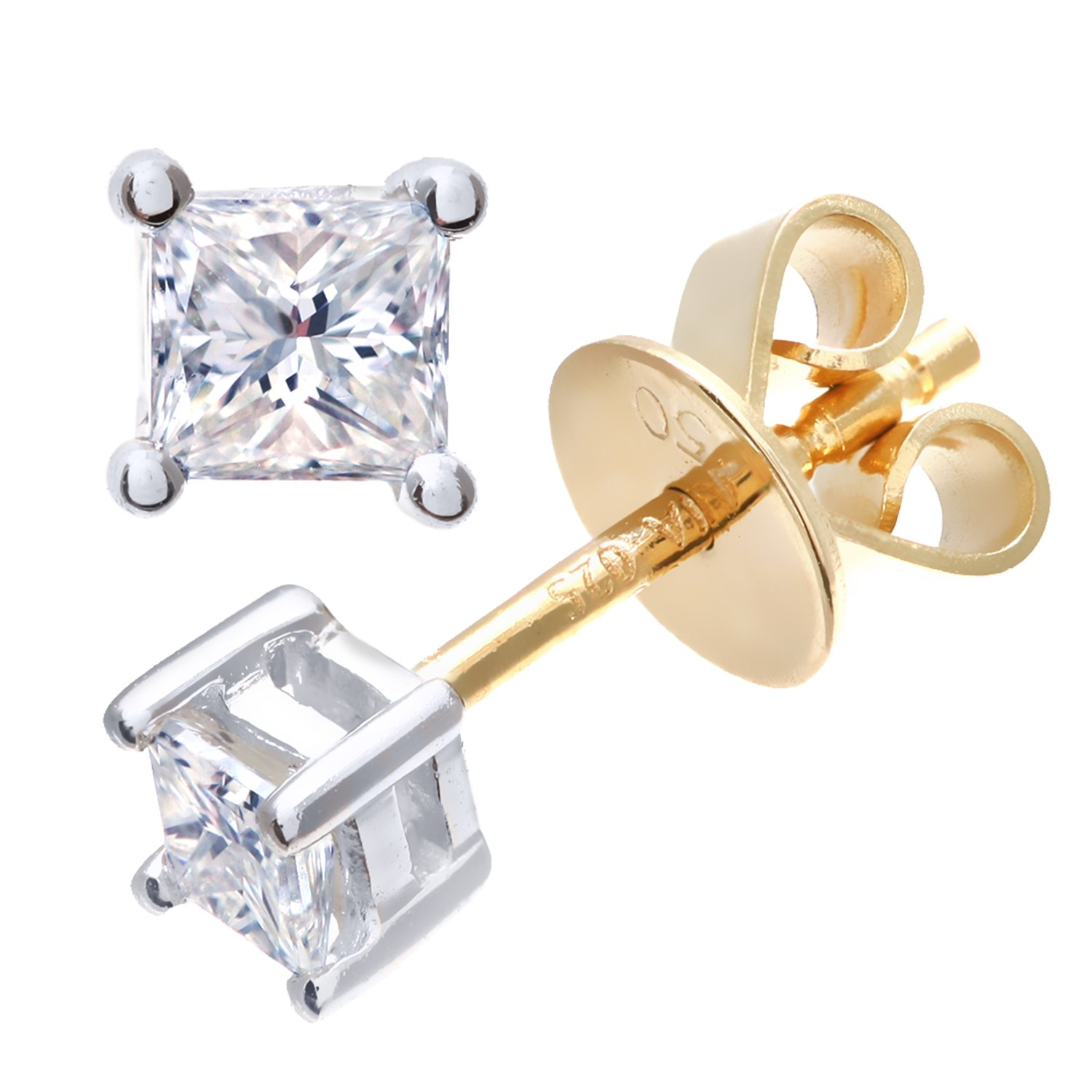 18CT YELLOW GOLD 0.25CT PRICESS CUT STUD EARRINGS