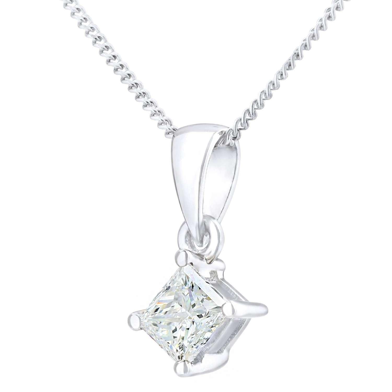 18CT WHITE GOLD 0.33CT DIAMOND PRINCESS CUT PENDANT