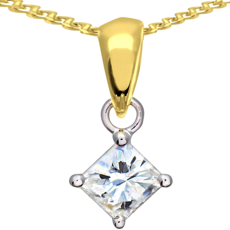 18CT YELLOW GOLD 1.00CT DIAMOND PRINCESS CUT PENDANT
