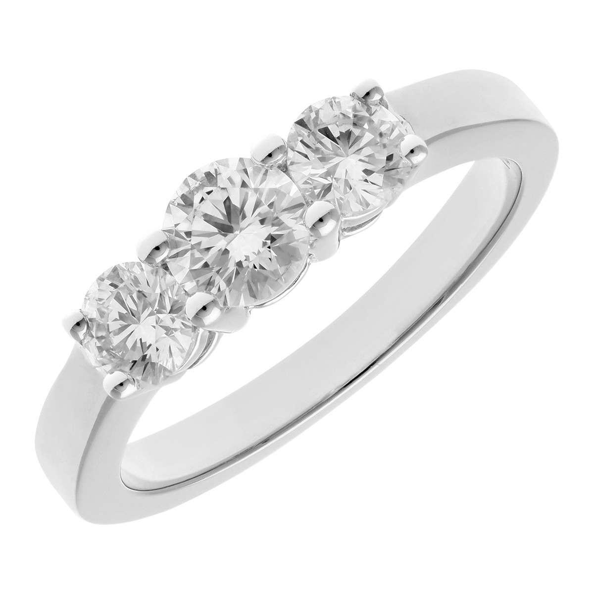 18CT WHITE GOLD 1.00CT DIAMOND 3 STONE RING