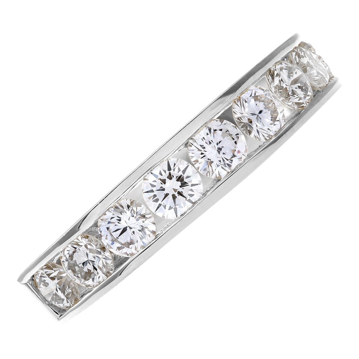 18CT WHITE GOLD 1.00CT DIAMOND 9 STONE CHANNEL SET 1/2 ETERNITY RING