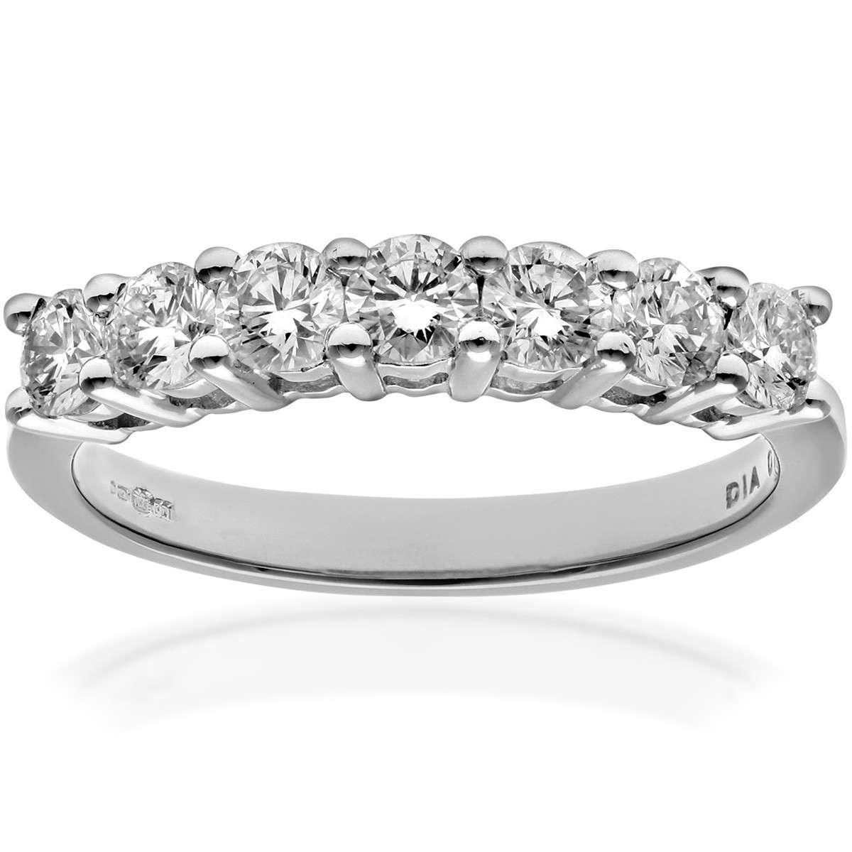 18CT WHITE GOLD 0.75CT DIAMOND 7 STONE 1/2 ETERNITY RING