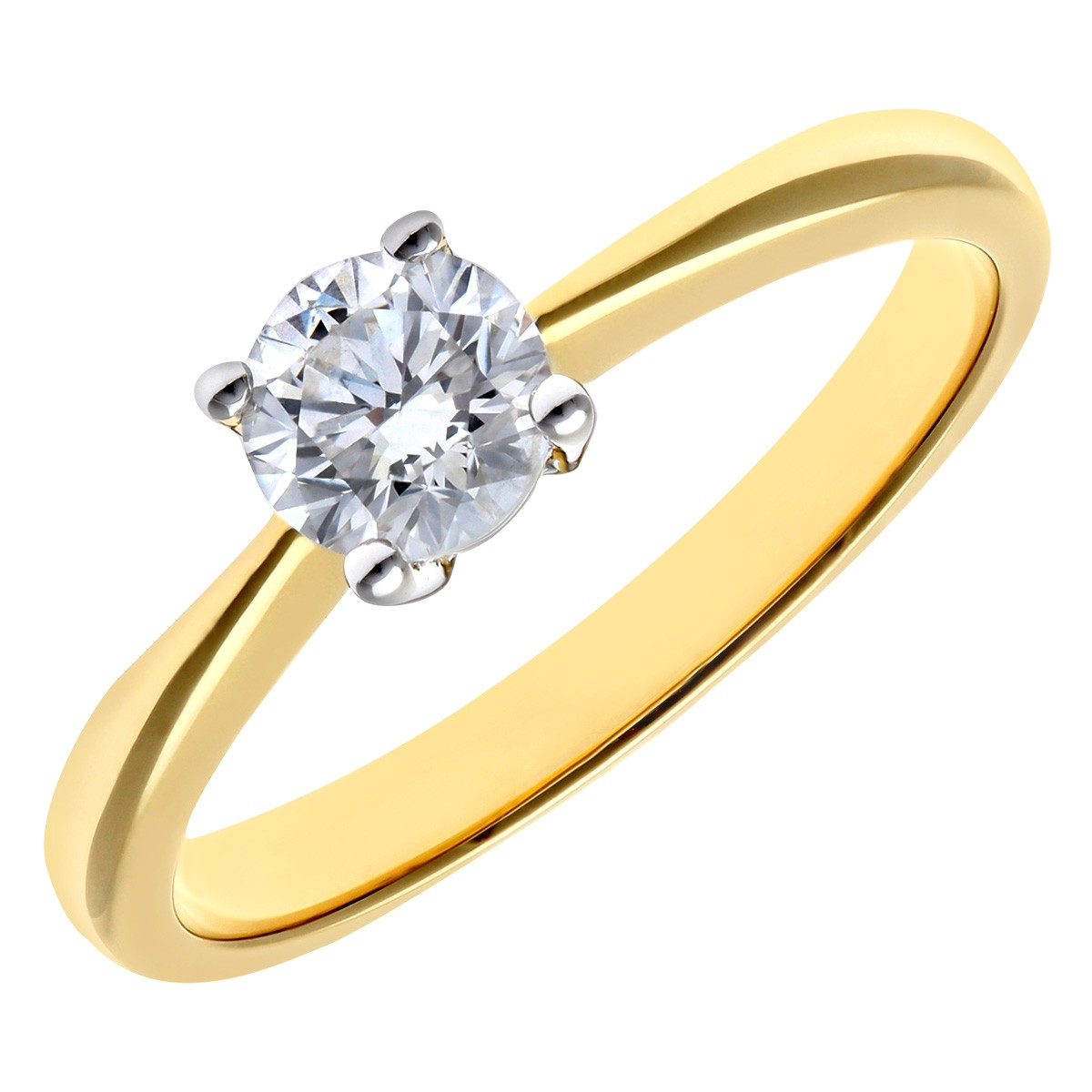 18CT YELLOW GOLD 0.50CT DIAMOND SOLITAIRE RING