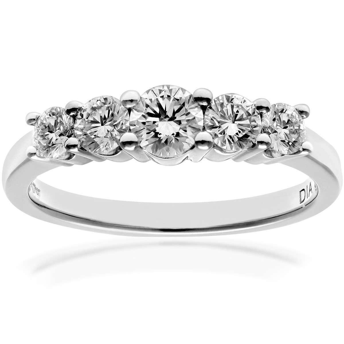 18CT WHITE GOLD 0.75CT DIAMOND 5 STONE GRADUATE ETERNITY RING