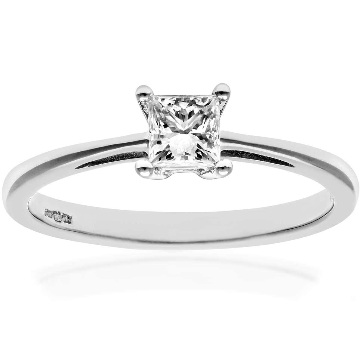 18CT WHITE GOLD 0.33CT DIAMOND PRINCESS CUT RING
