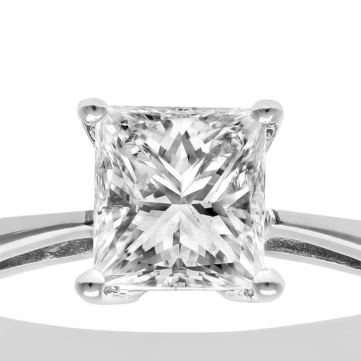 18CT WHITE GOLD 1.00CT DIAMOND PRINCESS CUT RING