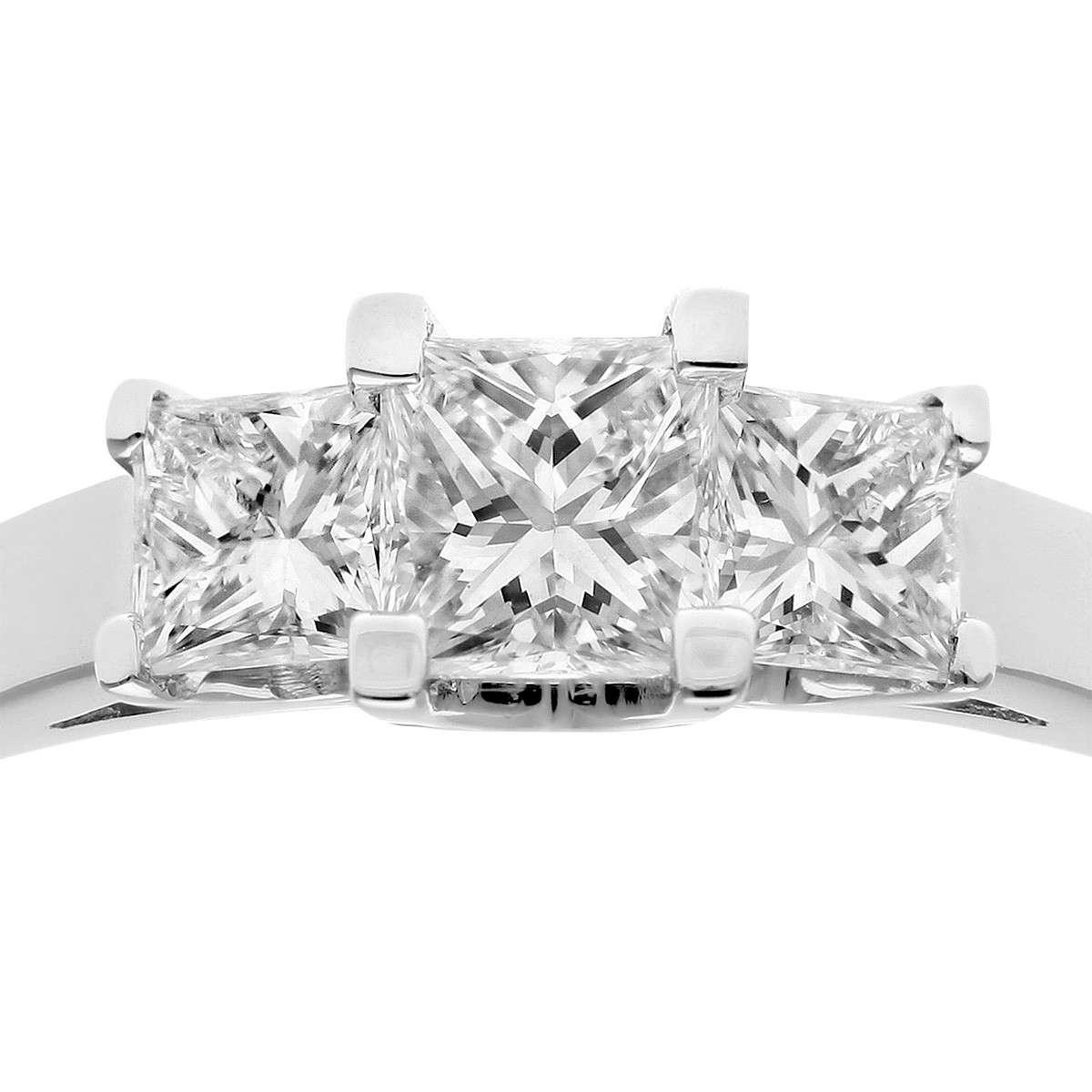18CT WHITE GOLD 1.00CT DIAMOND PRINCESS CUT 3 STONE RING
