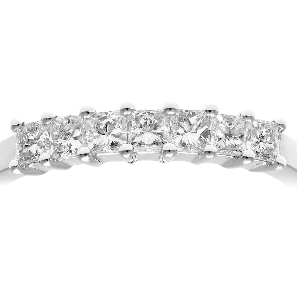 18CT WHITE GOLD 0.50CT DIAMOND PRINCESS CUT 7 STONE 1/2 ETERNITY RING