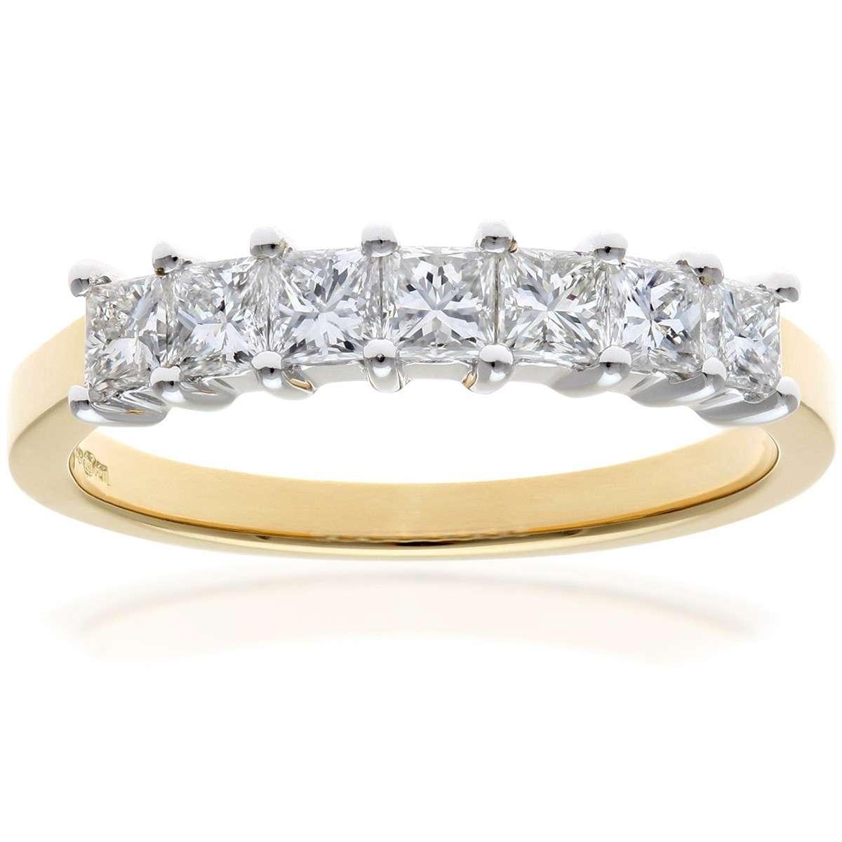 18CT YELLOW GOLD 0.75CT DIAMOND PRINCESS CUT 7 STONE 1/2 ETERNITY RING