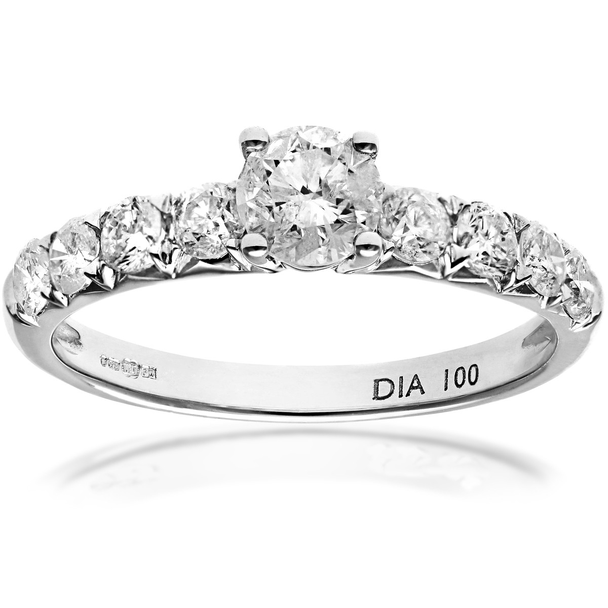 18CT WHITE GOLD 1.00CT DIAMOND ENGAGEMENT SHOULDER RINGS