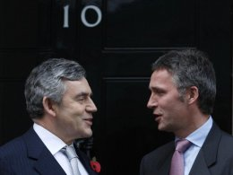 Gordon Brown and Jens Stoltenberg outside Downing street 10 today.