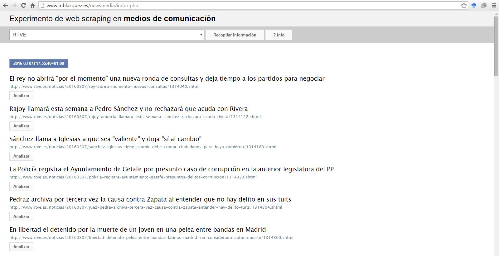 Fig.4. Web scraping de la portada de radiotelevisión española RTVE