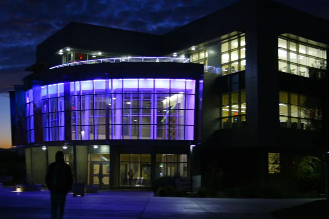 Night time view of the lob to the Vargas Gallery at Mission College in Santa Clara CA