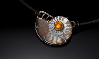 Ammonite, silver and stone pendant on necklace  Carol Holaday