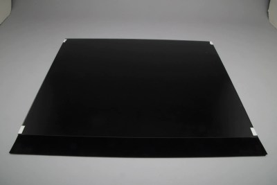 Non-glare glass square with black velvet underneath used for 45 degree angle halo effect shots in the Cloud Dome