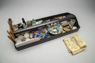 tool box tray of props and studio tools includes other items shown in other photos plus more tools and props