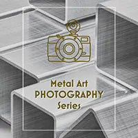 banner for Metal Art Photography series page. Image of aluminum bar stock with a camera icon and series title text