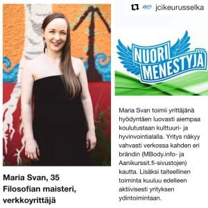 Maria Svan Nuori Menestyjä -kilpailussa