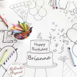 Personalized birthday coloring table runner