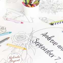 Personalized wedding coloring table runner