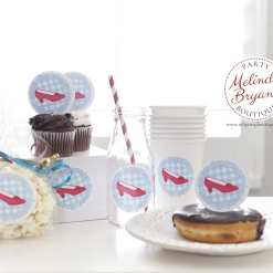 personalized ruby slipper stickers on paper cups, bags, milk bottle, and cupcake toppers
