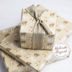 woodland animal monogrammed gift wrap