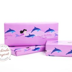Personalized mermaid gift wrap with dolphins