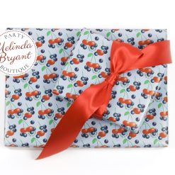 personalized gift wrap with smiling cherries and blueberries