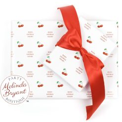 white wrapping paper with cherries and personalized text