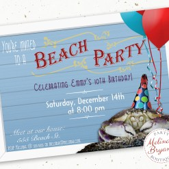invitation featuring boardwalk style sign and crab with balloons and party hat