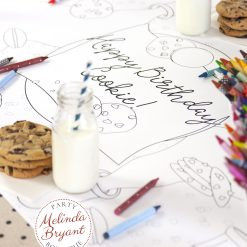 Cookies and milk coloring table runner