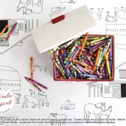 Farm themed coloring table runner set with cookie jar and crayons