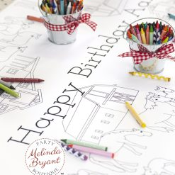 Farm themed coloring table runner