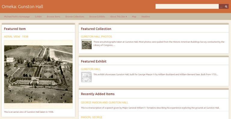 Gunston Hall Exhibit Homepage Screenshot