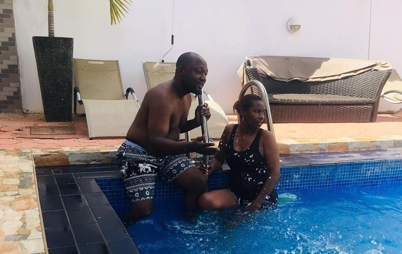 Diamond's mother goes swimming with new bae