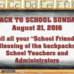 Back To School Sunday, August 21, 2016