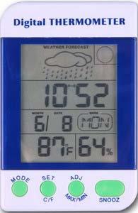 Alat Pengukur Suhu Udara, Kelembaban, dan Pemantau Cuaca seri AMT-110