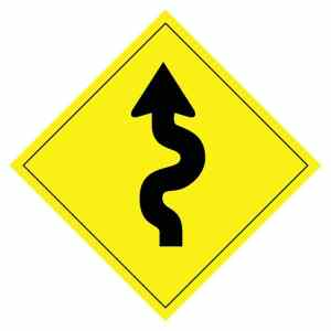 curvy arrow road sign