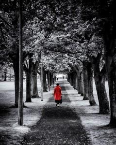Red coat walking away