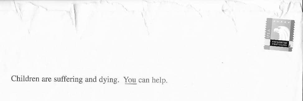 Children are suffering envelope