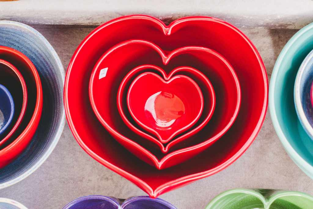 Nested heart-shaped bowls