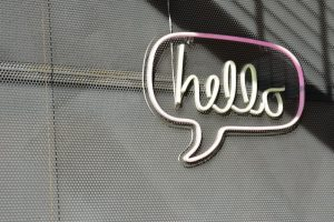 Sign says hello
