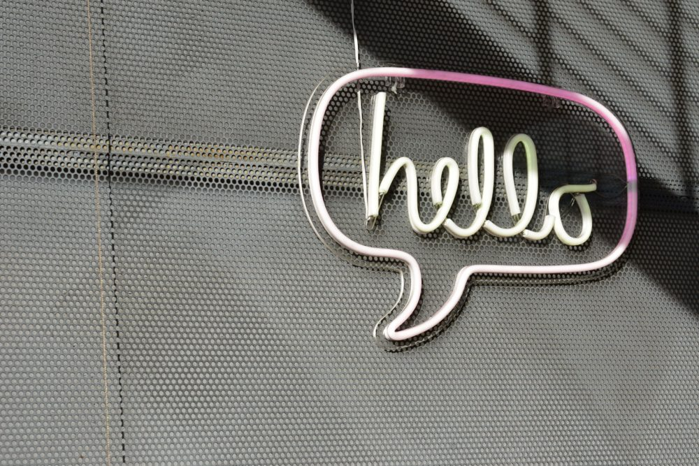 Sign says hello
