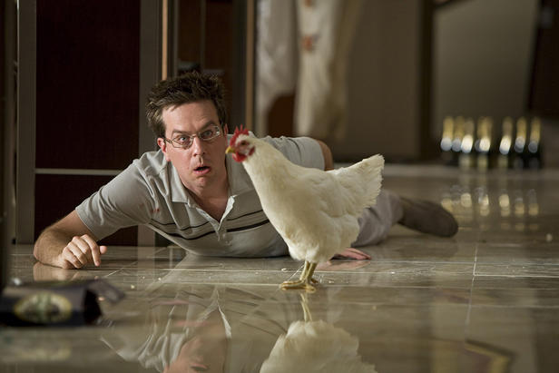 "Ed Helms ponders that age-old question of ""Which came first, the chicken or the hangover?"" in ""The Hangover."""
