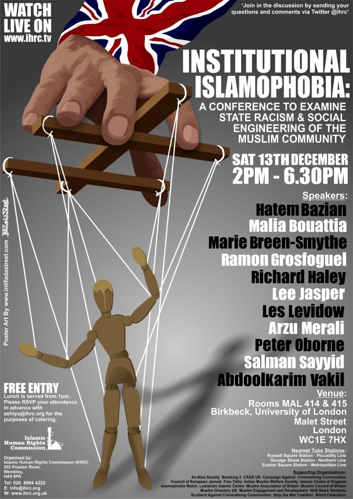 INSTITUTIONAL ISLAMOPHOBIA POSTER