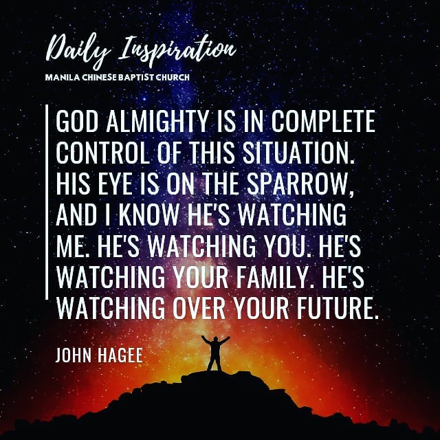 God almighty is in complete control of this situation. His eye is on the sparrow…