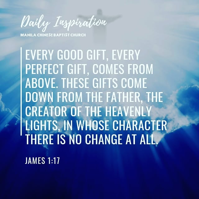Every good gift, every perfect gift, comes from above. These gifts come down fro…