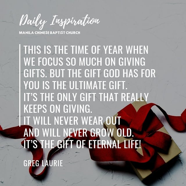 This is the time of year when we focus so much on giving gifts. But the gift God…